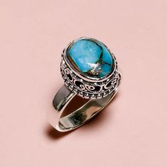 925 Sterling Silver Ring Sz US 7, Blue Copper Turquoise Gemstone 5.6 gm Gift #Modern