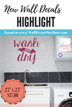 Wash And Dry Laundry Wall Decals Vinyl Letters Stickers Home Decor