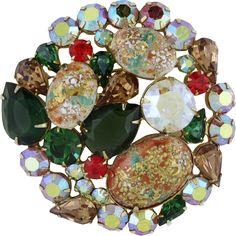 Juliana Vintage Green Fall Colors Easter Egg Pin Brooch - found at www.rubylane.com @rubylanecom