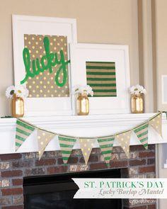 St. Patricks Day Decorations | Polka Dot Burlap from joann.com or Jo-Ann Stores | Project via @Landee See, Landee Do
