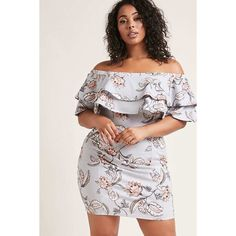 Forever21 Plus Size Floral Bodycon Dress ($38) ❤ liked on Polyvore featuring plus size women's fashion, plus size clothing, plus size dresses, grey, off the shoulder floral dress, long-sleeve floral dresses, floral dresses, short sleeve dress and body con dress