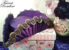 handmade UNIQUE purple silk pleated tricorn hat by FairestRosaline, £50.00