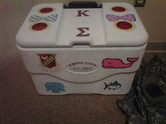 Painting a cooler. TSM. Reaping the benefits of a sorority girl's crafting skills. TFM.