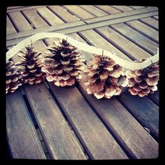 A pine cone and ribbon garland looks great woind around a Christmas tree, a stair railing, a doorway....