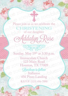 Shabby Chic Baptism Invitation Girl Floral by ZoeyBlueDesigns  sc 1 st  Pinterest & Baptism Invitation - Shabby Chic Baptism Invitation - Christening ...