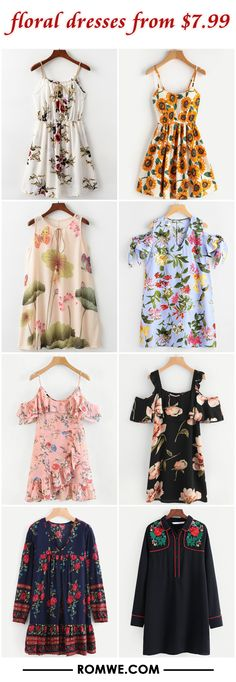 floral dresses from $7.99