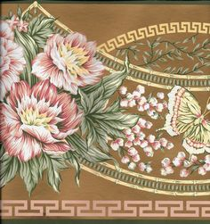Victorian Pink Floral with Butterflies on Gold WALLPAPER BORDER #Unbranded