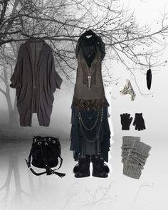 wintry dark mori girl