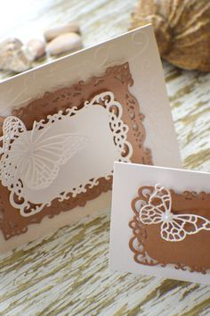 This listing is for ONE buttefly card or invitation. The place card is NOT included!!!  Details: Double folded card  Size - A6 or 10.5cm x 15cm. Embossed Individually die cut Adorned with a...