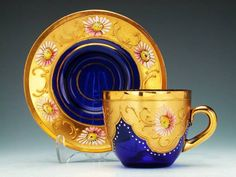 Bohemia Glass cup and saucer