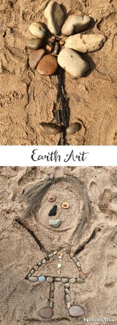 Use sand, rocks, sticks, leaves and dirt to create earth art! This is a simple, creative project for kids and would be perfect as an earth day craft