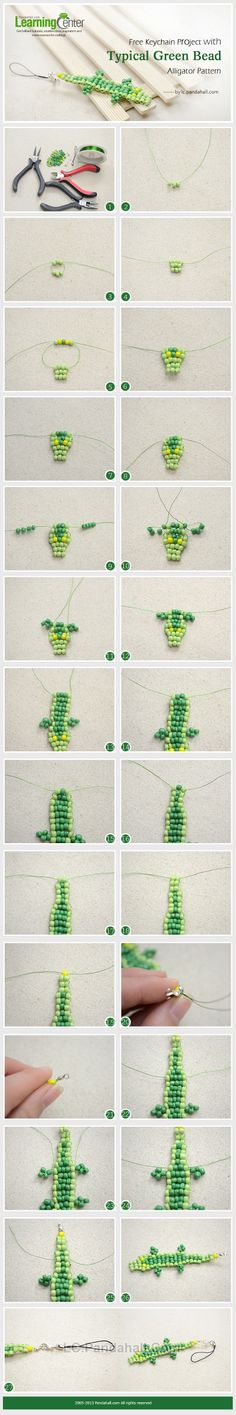 Free Keychain Project with Typical Green Bead Alligator Pattern