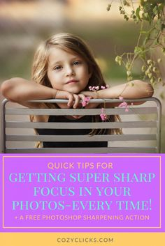Struggling with blurry pictures?  Learn what you can do to get sharp focus in your photos.  Get tack sharp images by doing these super easy things!