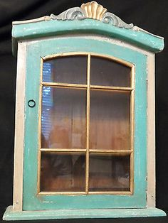 Unusual Vintage Wall Curio Display Cabinet Painted Mahogany Glass Door And  Sides