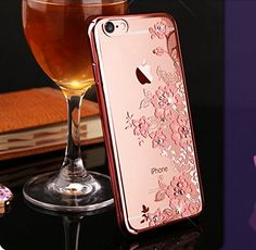 iPhone 6 Case, 6s Bling Case, Fyee [Garden Series] Slim Dual TPU Rubber Back Cover with Clear Fower Glitter Bling Sparkle Stone Diamond Case for iPhone 6 / 6s 4.7 inch - Rose Gold