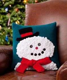 Knitting+Pillow+Patterns+for+Beginners | Snowman Pillow Knitting Pattern | Red Heart
