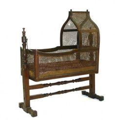 Victorian Walnut Gothic Wicker Cradle in Original Finish. c 1860.