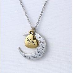 Z lásky k našim najbližším :) Náhrdelník s príveskom mesiaca a srdca