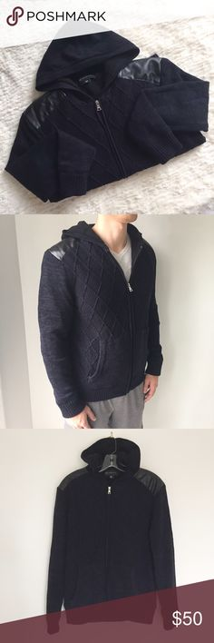 [I.N.C] Fleece Lined Sweater Hoodie Fleece lined. Faux leather shoulder pads. Front zip. Long sleeves. Front pockets. Worm once. Super soft and warm. Dark navy blue and black combo. Silver hardware. INC International Concepts Sweaters Zip Up