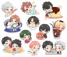 Haikyuu Manga, Haikyuu Funny, Haikyuu Fanart, Anime Chibi, Manga Anime, Anime Art, Anime Stickers, Cute Stickers, Volleyball Anime
