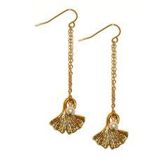 Ginko leaf gold earrings from Baubella by Sophia & Chloe $44