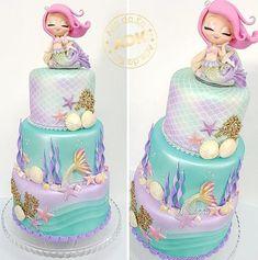 Little Mermaid Birthday Cake, Little Mermaid Parties, The Little Mermaid, Mermaid Baby Showers, Baby Mermaid, Barbie Birthday, Girl Birthday, Mermaid Cakes, Girl Cakes
