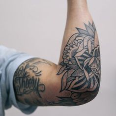 Discover recipes, home ideas, style inspiration and other ideas to try. Tattoos Arm Mann, Elbow Tattoos, Arm Tattoos For Guys, Sleeve Tattoos, Rn Tattoo, Text Tattoo, Black Tattoos, Cool Tattoos, Bleu Noir Tattoo