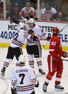Jeremy Morin celebrating his goal.  Nothing like being called up to the NHL and scoring the first goal in the game!