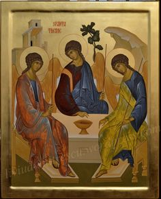 The Church has many different depictions of the Holy Trinity. But the icon which defines the very essence of Trinity Day is invariably the one which shows the Trinity in the form of three angels. Trinidad, Byzantine Icons, Religious Icons, Art Icon, Sgraffito, Traditional Paintings, Orthodox Icons, Medieval Art, Christian Art