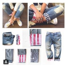 DIY Amazing American Flag Jeans - Turn those jeans that are too short in the back of your closet into these fabulous Capri jeans!  Or better yet, stop by my eBay store and pick up a pair for a fraction of the cost www.iiwiiMerchandise.com.