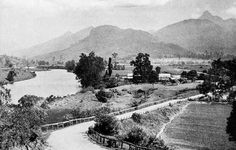 Murwillumbah, NSW, 1930 - Hattons Bluff ,Mt. Warning and Tweed River near Murwillumbah. Old Chinamans Market Garden on right side of Road.