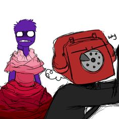 Five Nights at Freddy's Why me?!<<I watched the steam when rebornica was drawing this and according to them purple guy is only mad the dress isn't purple! XD