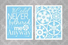 Frozen Inspired Printable Typography Sign Set, Snowflakes, Elsa Quote