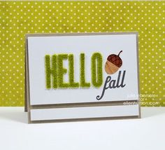 Video Tutorial for Faux Moss Letters and an acorn die cut from Real Wood Paper I did for Ellen Hutson LLC