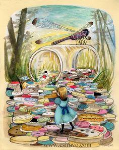 ButtonArtMuseum.com - Alice in Wonderland Illustration