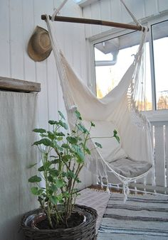 White hammock chair on the veranda Outdoor Spaces, Outdoor Living, Outdoor Decor, Outdoor Kitchens, Outdoor Seating, Hanging Hammock Chair, Hanging Chairs, Chair Swing, Swinging Chair