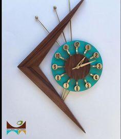 Atomic Skyway mid century clock sold on Etsy. Mid Century Wall Art, Mid Century House, Atomic Time, Atomic Decor, Atomic Ranch, Ranch Decor, Modern Clock, Wall Clock Design, Mid Century Modern Decor