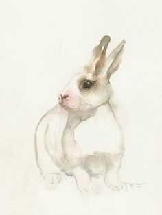 Little white rabbit, animal art, watercolor print, bunny watercolor painting print art.