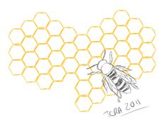 Honeycomb heart and bee design. Similar to what I have been thinking for my shoulder, only I want mine smaller.