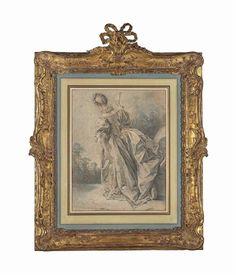 Artwork by François Boucher (1703-1770), Femme vue de dos en robe de satin tenant un éventail dans sa main gauche