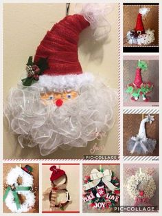 Super Fun DIY Christmas Decorations Ideas for Home – Mesh Wreath - Wreath Ideen Mesh Christmas Tree, Diy Christmas Decorations For Home, Christmas Hat, Christmas Crafts For Kids, Holiday Wreaths, Holiday Crafts, Holiday Decor, Deco Mesh Crafts, Diy Wreath