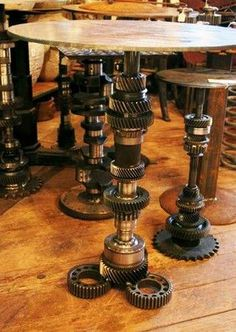 metal furniture and decor accessories in industrial style