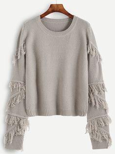 Pull en relief avec frange - gris -French SheIn(Sheinside)