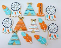 Teepees, feathers & dream catchers for first birthday party.