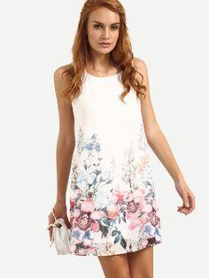 Multicolor Sleeveless Floral Shift Dress -SheIn(Sheinside)