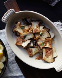 Thick, meaty slices of king oyster mushrooms are roasted in the oven for a rich, concentrated flavor.