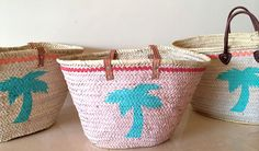 We love palms for the beach! Hand painted