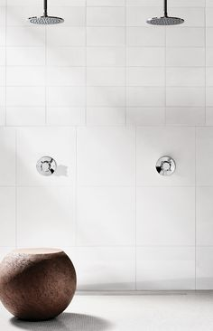 Our .25 Pressure Balance Controls, Universal Shower Heads and Drain create the perfect pairing in this all-white bathroom. All White Bathroom, Classic Bathroom, Bathroom Cabinetry, Contemporary Bathroom Designs, White Shower, Brass Faucet, Modern Spaces, Bath Rugs, Shower Heads