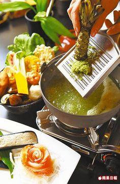山葵火鍋  350元/單點  現磨新鮮山葵入蔬菜高湯煮滾,湯汁芳香宜人。