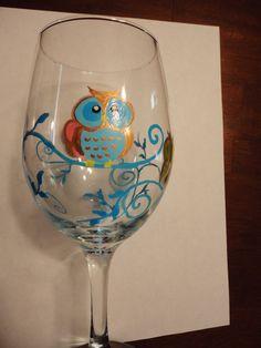 Whimsical Owl Wine Glass on Etsy, $15.00